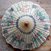 DEKOSCHIRM, China, Papier/ Bambus, colorierter Schablonendekor, ca. Dm 90 cm, min. besch.,