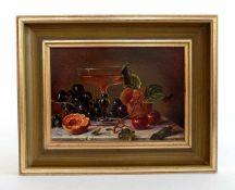 ANPNYMOUS, 20. Jh., Öl/ Holz, Nature morte, Stillleben mit Champagnerschale und Gurke, 13,5 x 18,5