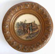 GROßE WANDPLATTE, Manufaktur Joh. Maresch Thon- und Steingutwaren/ Aussig, Historismus-Epoche,