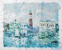 MICHEL, Yves, 1960er/70er-Jahre, Öl/ Leinwand, Blick auf Dogenpalast und Campanile San Marco, ca. 41