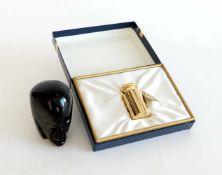 KALIBRIERGEWICHT, 200g, 24kt vergoldet, in orig. Etui mit goldgeprägtem Wappen und Paperweight,