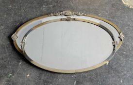 PAAR SPIEGEL, England, 1910er/ 20er-Jahre, ovale Form, Messingrahmen, teilweise Reste von