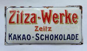 EMAILLE-SCHILD, Zitza-Werke, Zeitz, Kakao-Schokolade, bombiert, schabloniert, Zuckergussemaille,