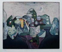"""OTTO, Elfriede (*1934), Farbradierung, """"Nachgefährten"""", unten links num. 57/60, mittig betitelt"""