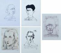 JANSSEN, Horst (*1929 Wandsbek †1995 Hamburg), Portraitserie von 5, Lithograhie bzw. Faksimile-
