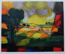 MOULY, Marcel (*1918 +2008), Farblithographie, Gewitter über südlicher Felderlandschaft, unten links