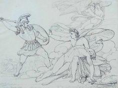 JAKOBS, Paul Emil (*1802 Gotha †1866 ebd.), (zugeschr.), Federzeichnung, Mythologische Szene,