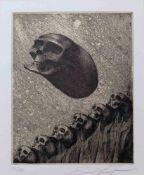 FUCHS, Ernst (*1930 Wien †2015 ebd.), Aquatintaradierung, Totenkopf, links unten nummeriert 28/