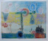 """HASEGAWA, Shoichi (*1929), Farbradierung, """"Voyage Amerique"""", unten links num. 90/110, mittig"""