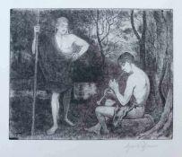"""THOMA, Hans (* 1839 Bernau †1924 Karlsruhe), Radierung, """"Apollo und Marsyas"""", rechts unten signiert,"""