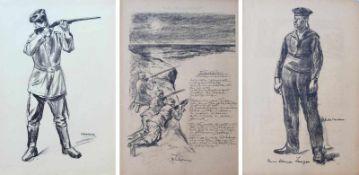"""LIEBERMANN, Max (*1847 Berlin †1935 ebd.), 3 Lithografien, Illustrationen zu """"Die Kriegszeit"""", je in"""