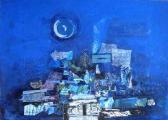 "ENGEL, Nissan (*1931 Haifa +2016), Mischtechnik, Collage, ""Blue composition"", links unten"
