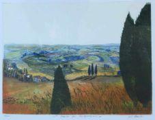 """KRUSLER, F.D. (?), Farbradierung, """"Abends bei Montepulciano"""", unten links num. 11/100, mittig"""