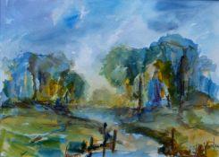 MARTEN, Michael, Aquarell, Flußlandschaft, rechts unten signiert, 37,5 x 48 cm, Passepartoutmontage