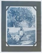 ZEITGENÖSSISCHE SCHULE, Serigraphie, 1970er-Jahre, Trompe l´œil einer Fotografie, 2 Afrikanerinnen