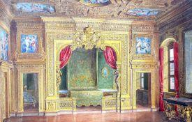 DEUTSCHE SCHULE, 19. Jh., C.F. (…), Aquarell/Karton, Königliches Schlafzimmer, rechts unten