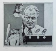 MONOGRAMMIST, Zeitgenössische Schule, Radierung, Surrealistische Komposition mit Willy Brandt, unten