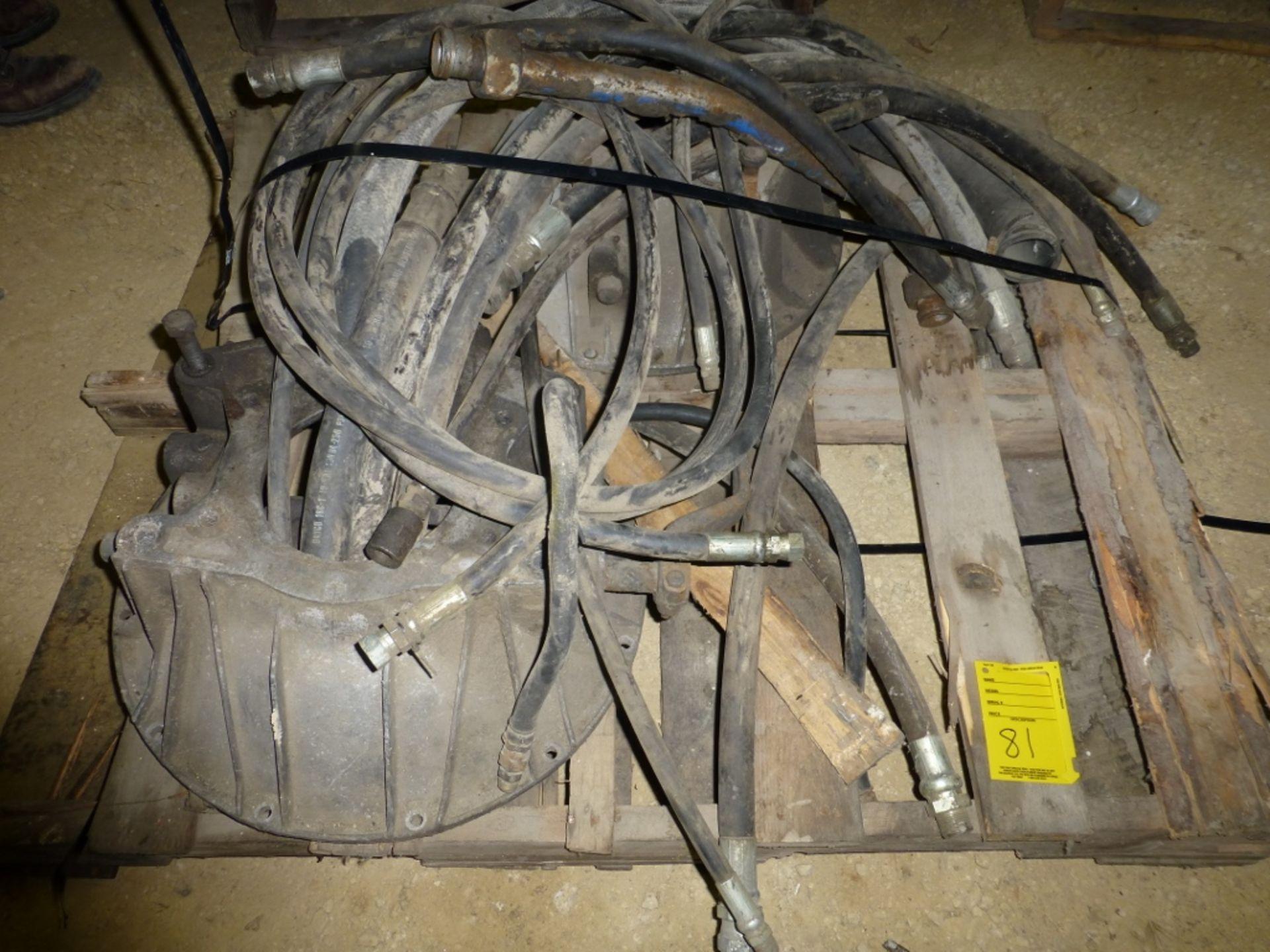 Pallet w/wheel hubs, hyd hose