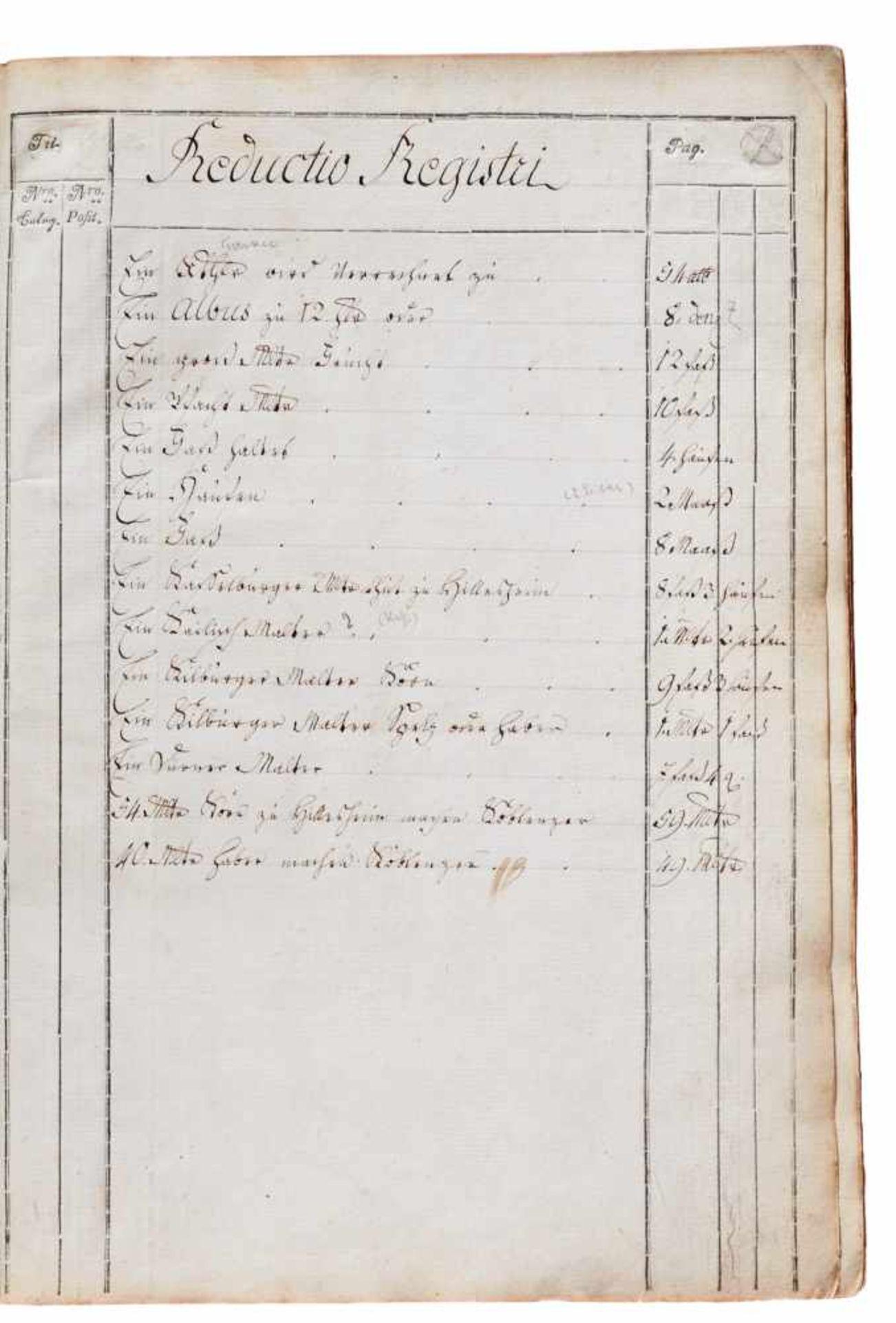 """Hillesheim- """"Hillesheimer Kellnerey Rechnung fürs Jahr 1793."""" (Deckeltitel).Typographische - Bild 2 aus 3"""