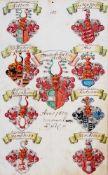 Adelsproben- Welden - Wappen des Franz Anton von Welden und von achtseiner Vorfahren als Adelsprobe.