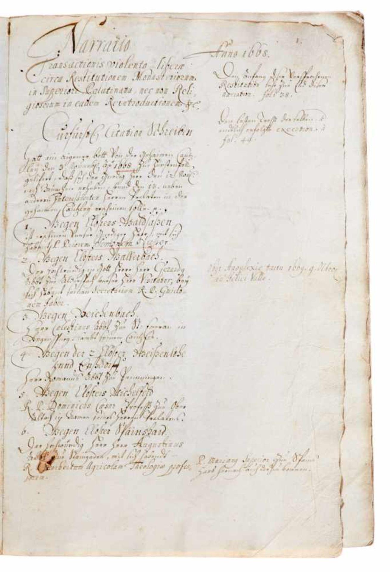 """Fürstenfeld- """"Narratio transactionis violento-liberae circa Restitutionem Monasteriorum in - Bild 2 aus 3"""