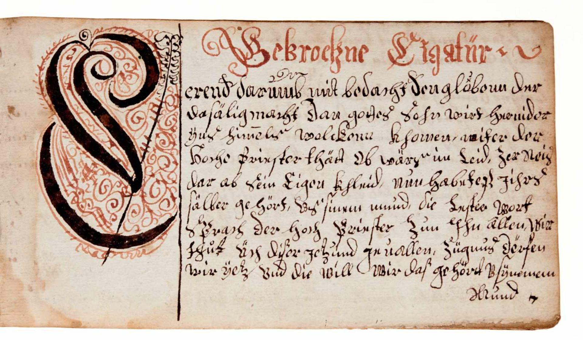 """Schriftmusterbuch- """"Vorgeschrifft Büchlin"""". Deutsche Handschrift auf Papier. WohlDeutschland, dat. - Bild 4 aus 4"""