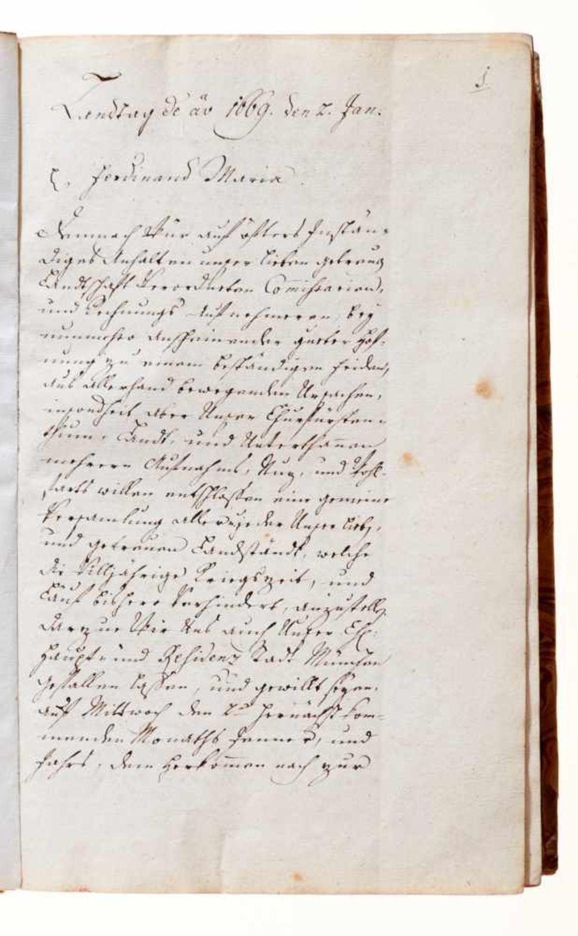 """Bayern- """"Beschreibung dess ... zuo München gehaltenen Landtags De Anno 1669."""" Deutsche Handschrift - Bild 3 aus 5"""