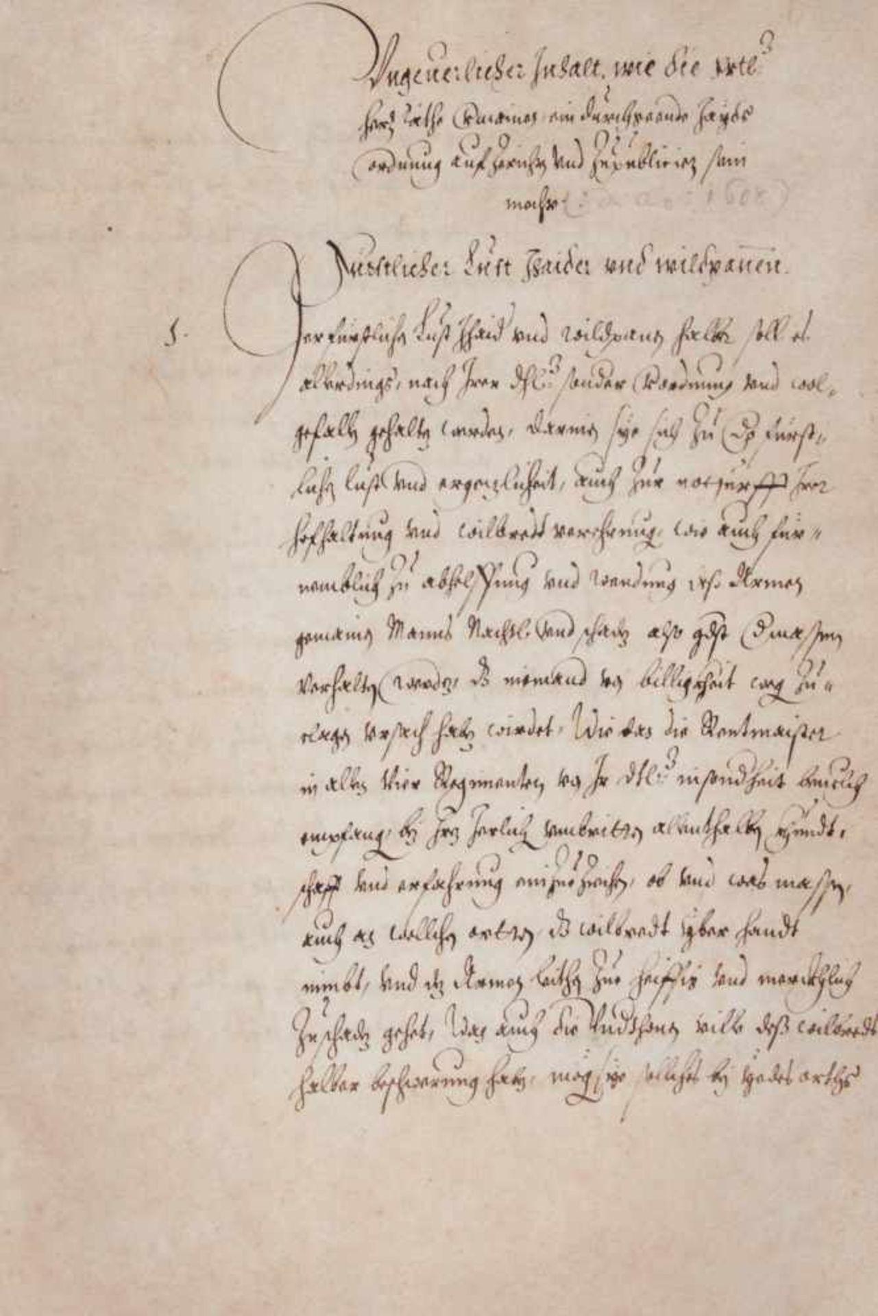 Bayern- Jagdordung - Deutsche Handschrift auf Papier. Nicht dat. WohlMünchen, 1608. Fol. 36 Bl. (das