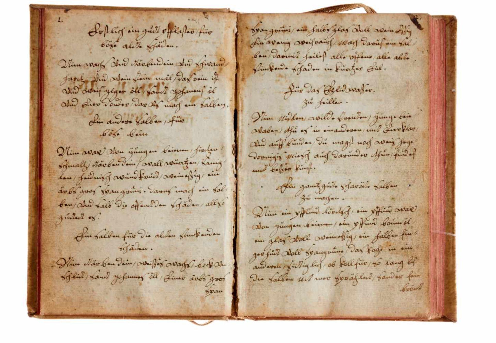 """Pferde- """"Artzney Buoch für Roß, Leut und Guot"""". Deutsche Handschrift auf Papier.Nicht dat. Wohl - Bild 3 aus 3"""
