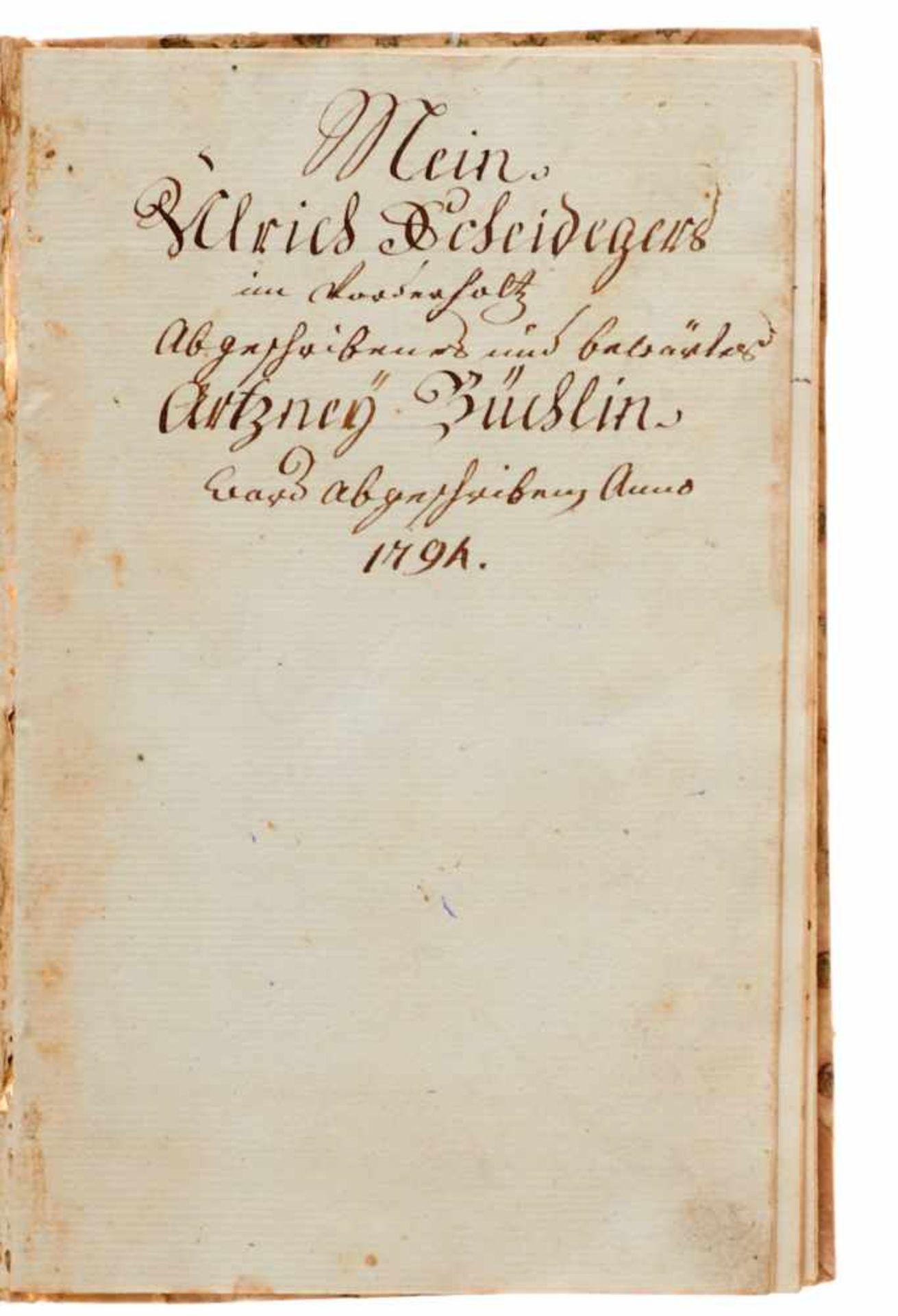 """""""Artzney Büchlin"""" Deutsche Handschrift auf Papier.Wohl Deutschland, dat. 1794. Mit - Bild 2 aus 4"""