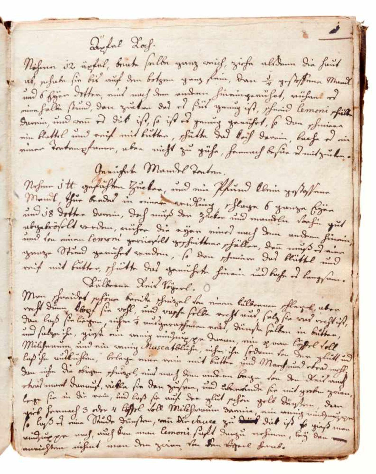Kochbuch - Deutsche Handschrift auf Papier.Wohl Wien, um 1780-1850. 4°. 130 S. (ohne S. 21/22), 20 - Bild 2 aus 4