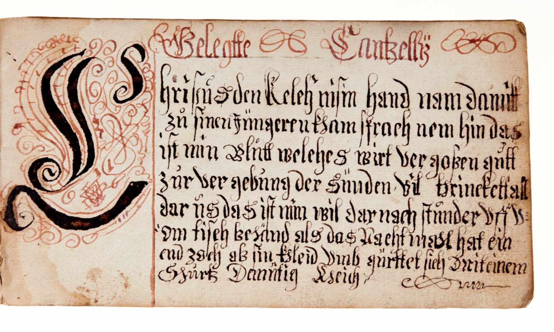 """Schriftmusterbuch- """"Vorgeschrifft Büchlin"""". Deutsche Handschrift auf Papier. WohlDeutschland, dat. - Bild 3 aus 4"""