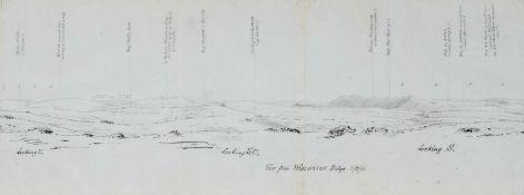 "Romani-Schlacht- Panorama ""View from Wellington Ridge"", mit detaillierterBeschriftung."