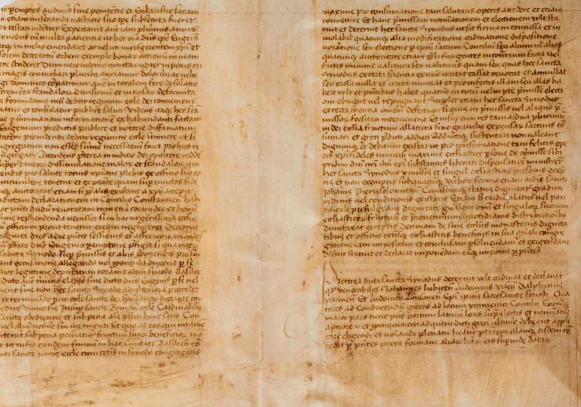 Basler Konzil- Doppelblatt (Fragment)aus einer lateinischen Handschrift auf Pergament. Wohl - Bild 3 aus 3