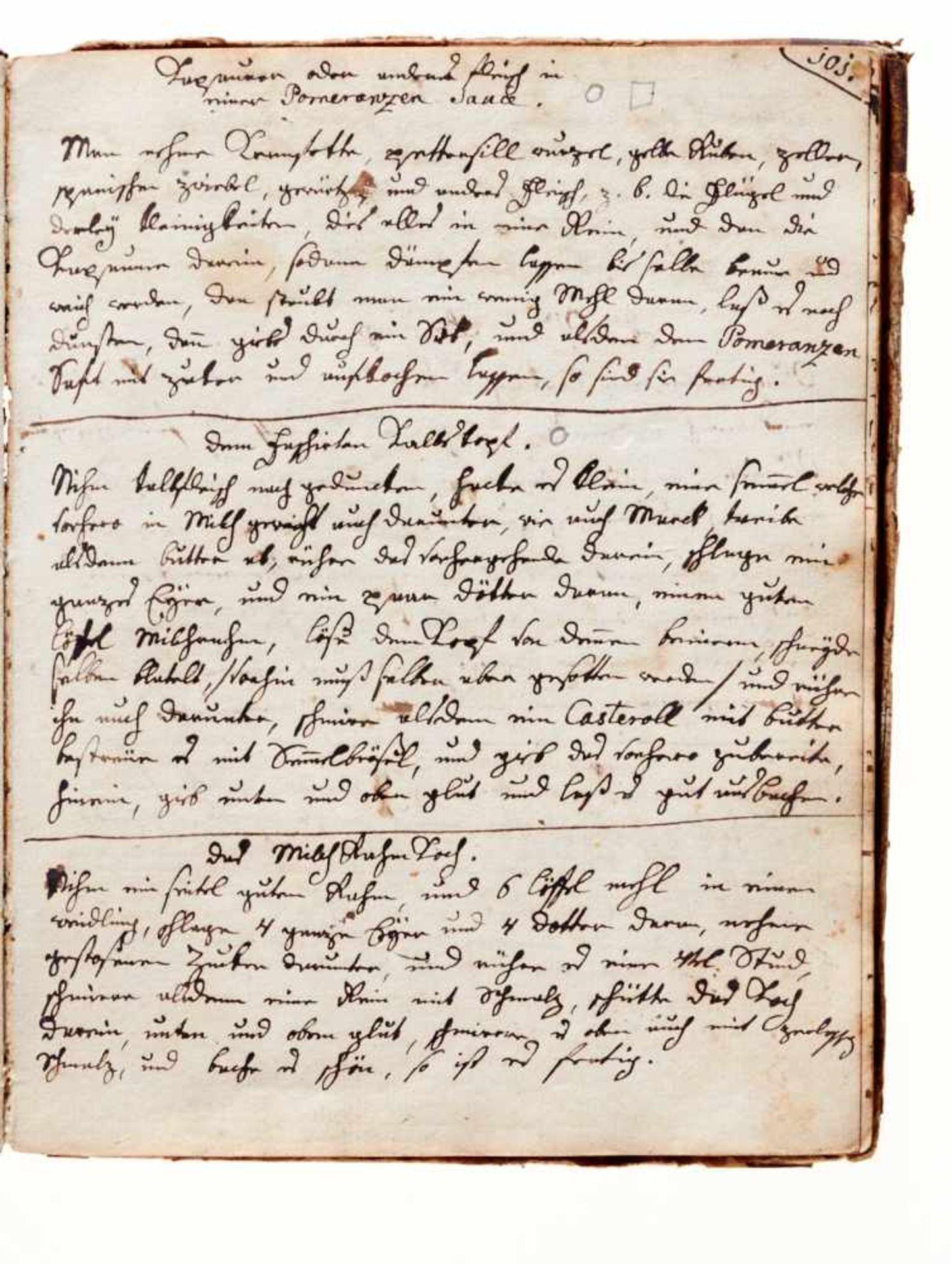 Kochbuch - Deutsche Handschrift auf Papier.Wohl Wien, um 1780-1850. 4°. 130 S. (ohne S. 21/22), 20 - Bild 3 aus 4