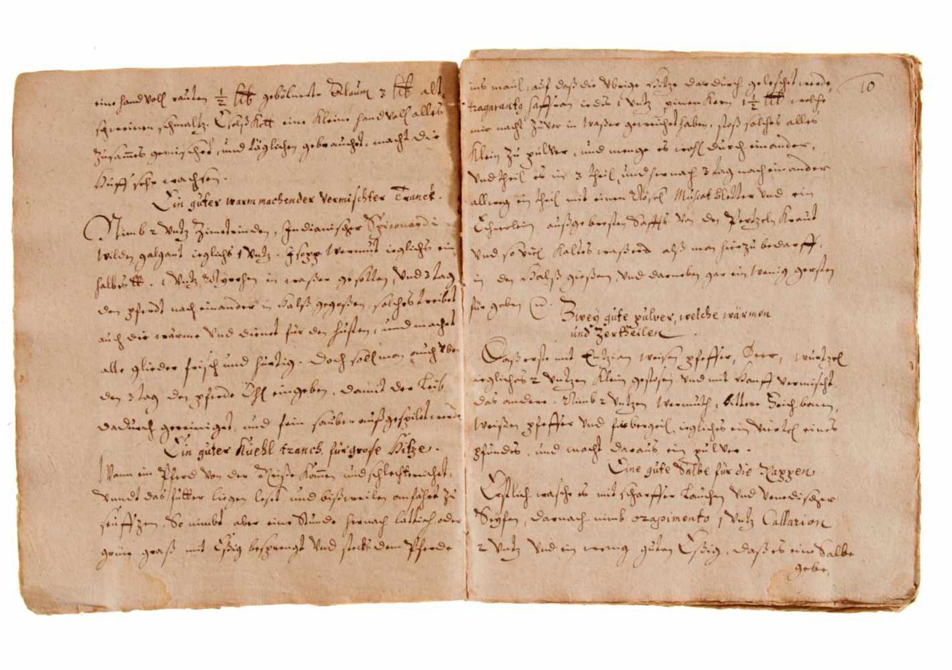 Pferde- Rossarzneibuch. Deutsche Handschrift auf Papier.Nicht dat. (wohl Deutschland, frühes 17. - Bild 2 aus 2