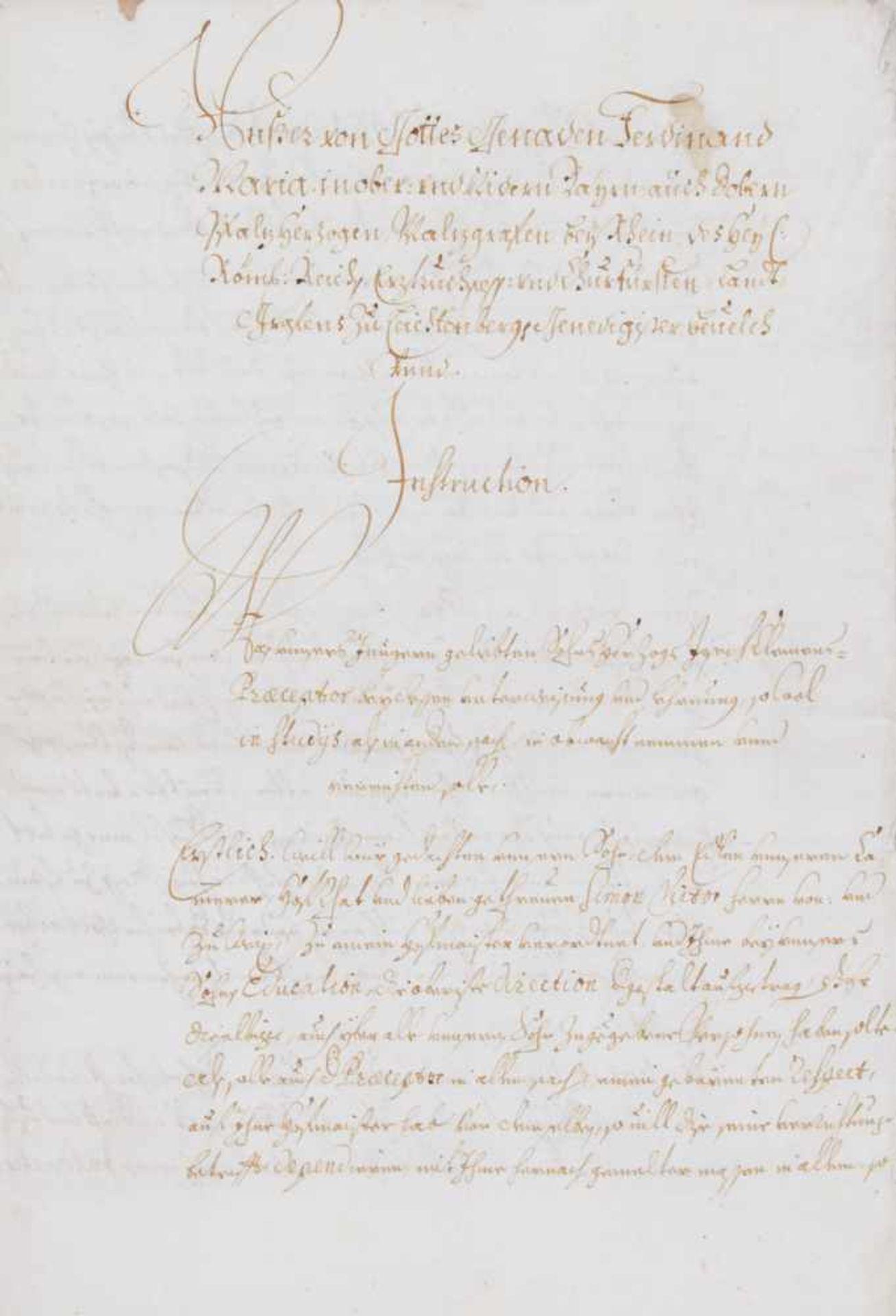 """Joseph Clemens von Bayern- """"Unser von Gottes Genaden Ferdinand Maria ... Genedigister Bevelch unnd"""