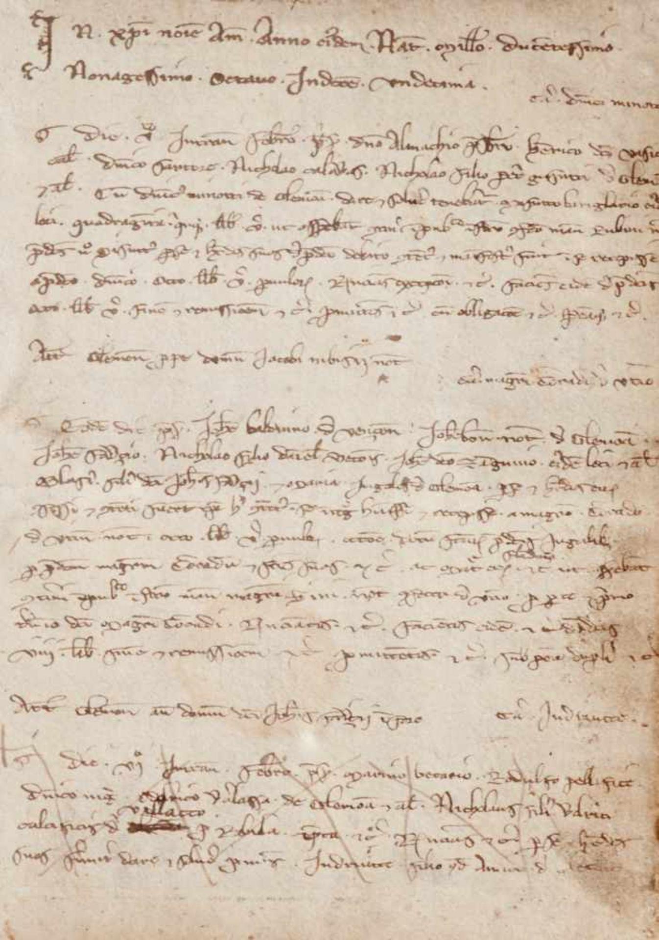 Gemona- Imbreviaturbuch des Notars Bartolomeo. Lateinische Handschrift auf Papier.Dat. Gemona ( - Bild 9 aus 9