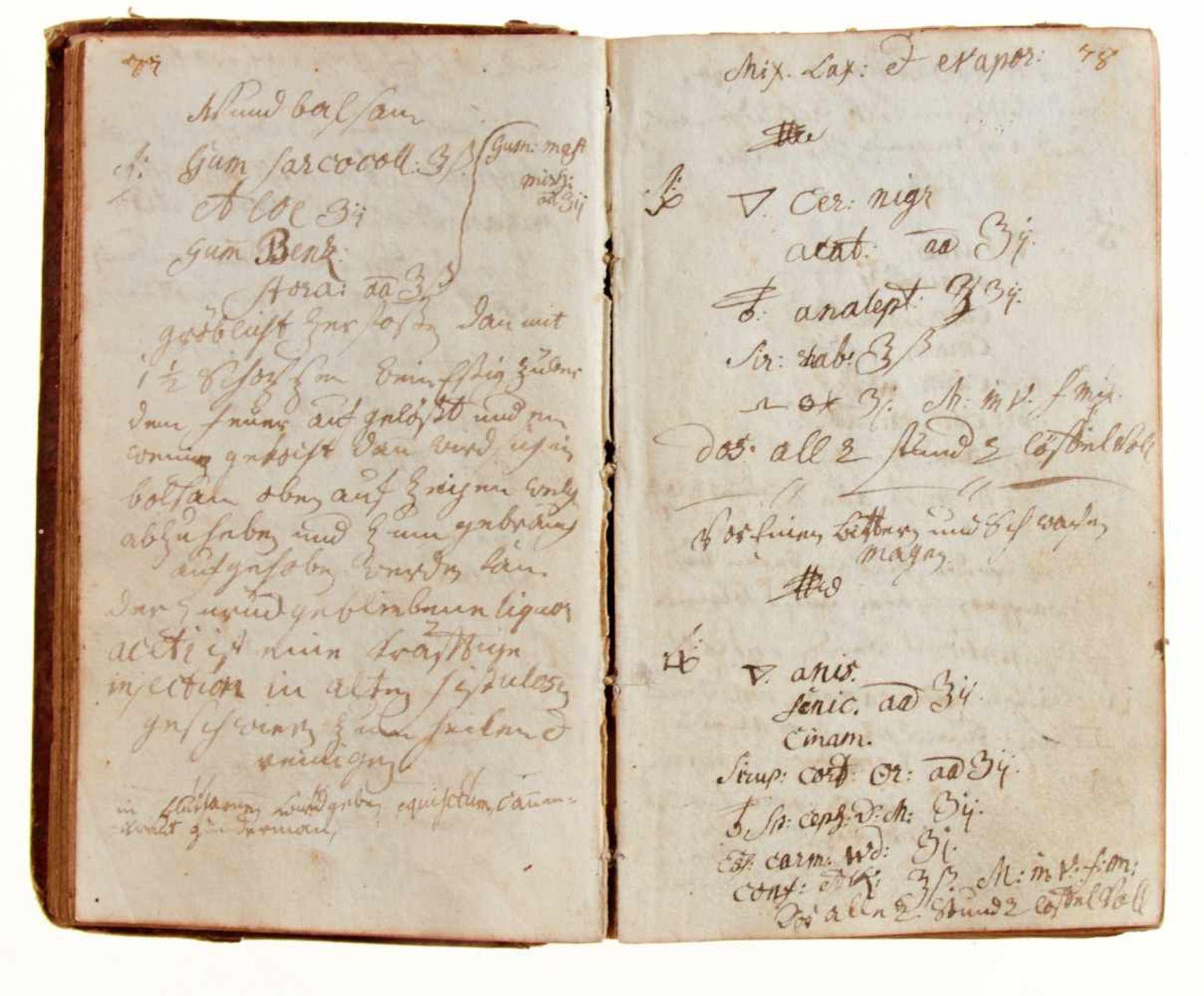 """""""Artzney Büchlein vor J. Matheus Friderich Knaus"""".Deutsche Handschrift auf Papier. Dat. - Bild 3 aus 4"""