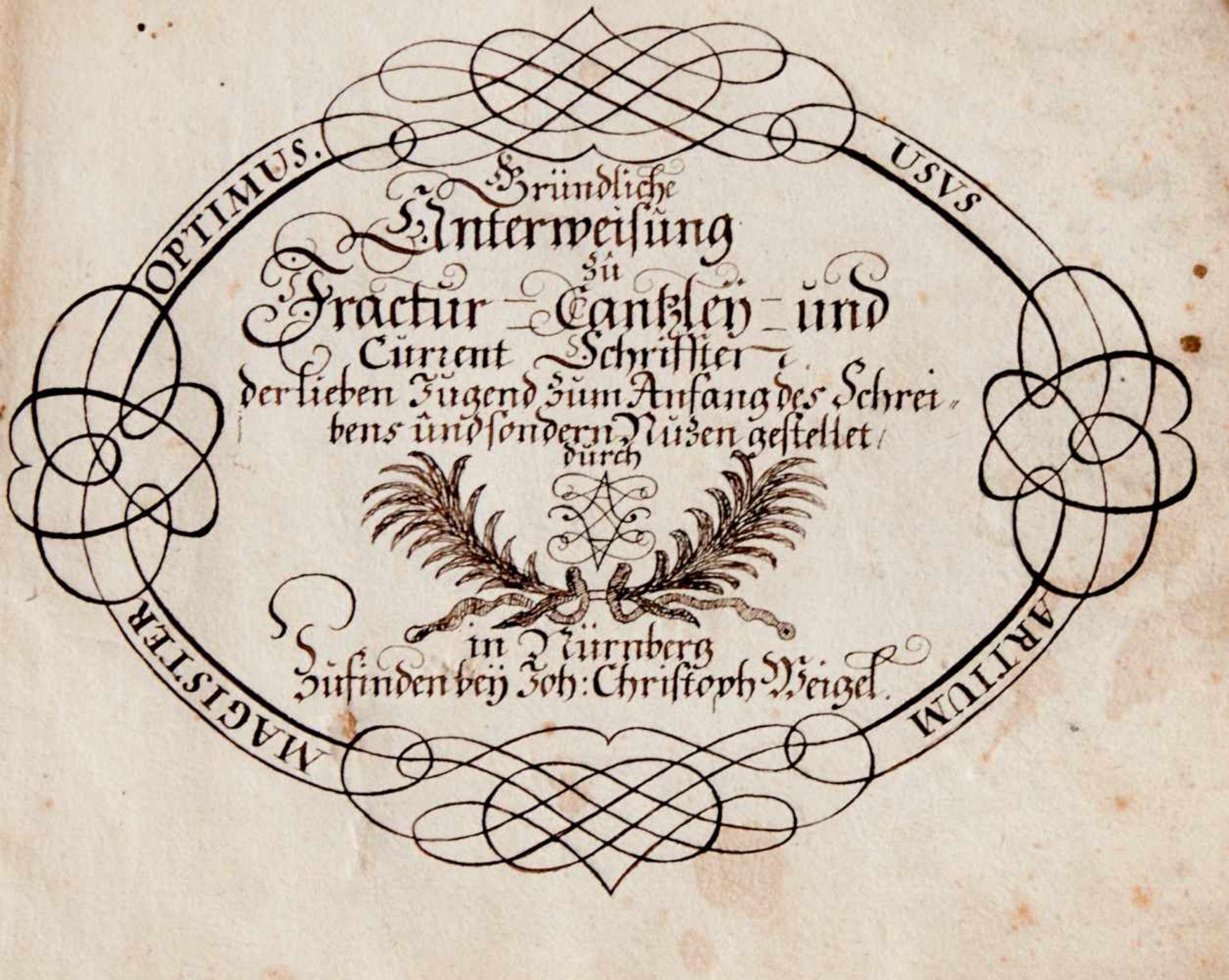 Schreibmeisterbuch - Abschrift des seltenen, um 1713 inNürnberg bei Johann Christoph Weigel - Bild 2 aus 5