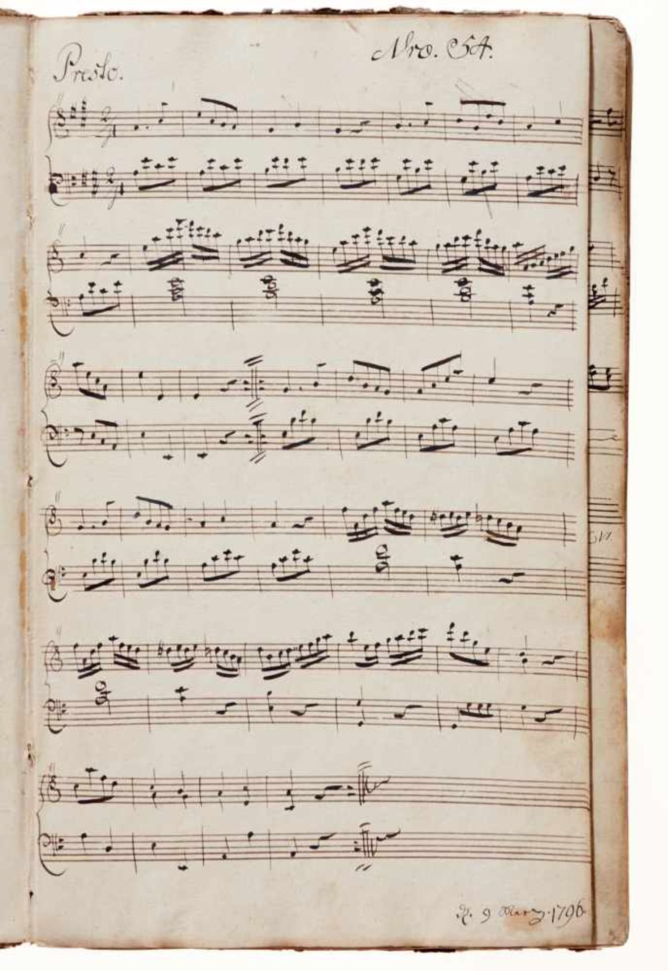 """Rese- """"Clavier Buch für I. Rese. Den 4 Junius 1798.""""Deutsche Handschrift auf Papier. Halberstadt?, - Bild 2 aus 4"""