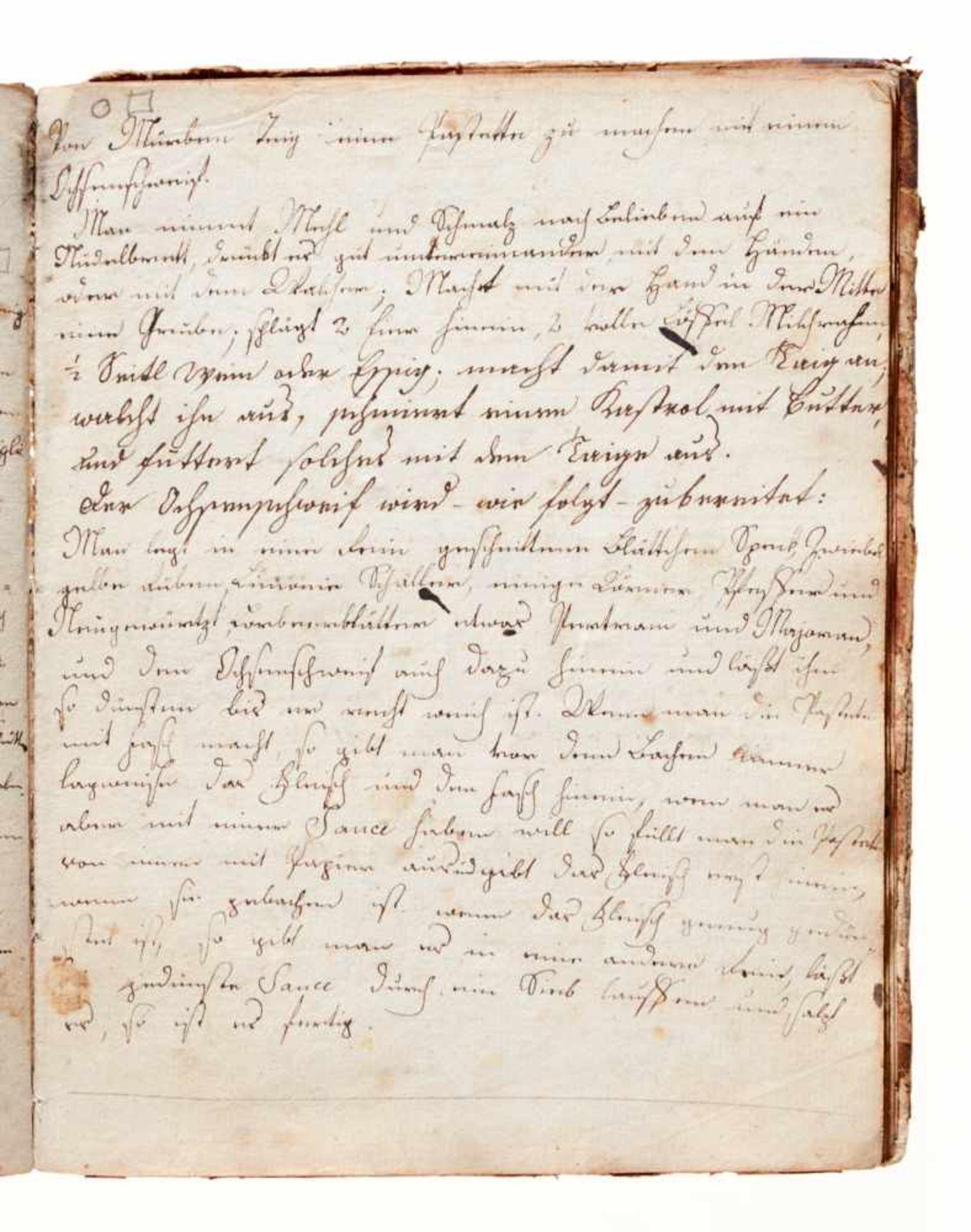 Kochbuch - Deutsche Handschrift auf Papier.Wohl Wien, um 1780-1850. 4°. 130 S. (ohne S. 21/22), 20 - Bild 4 aus 4