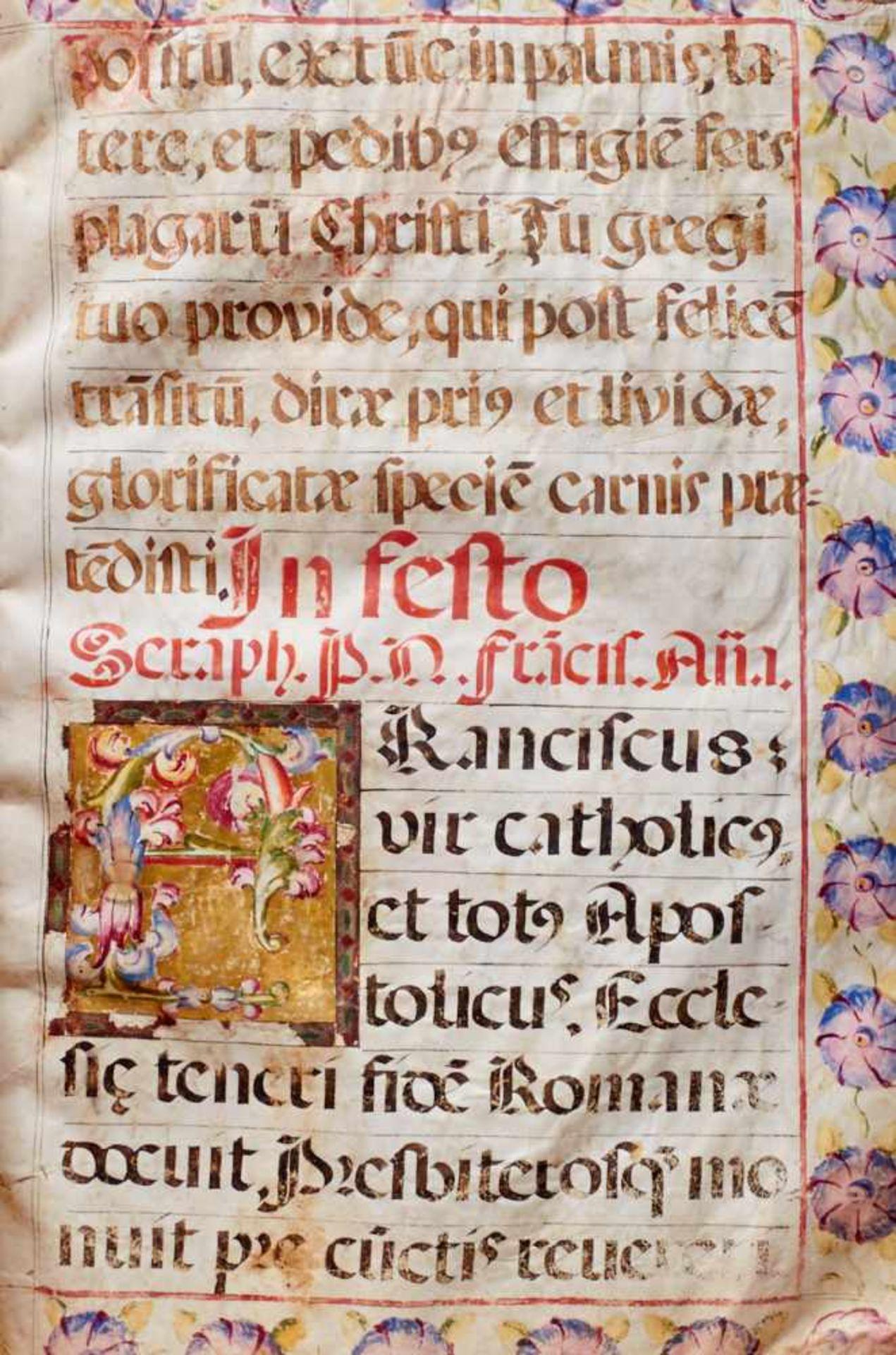 Antiphonar - Lateinische Handschrift auf Pergament. Nicht dat.Wohl Spanien, um 1600. Ca. 50 x 35 cm. - Bild 7 aus 7
