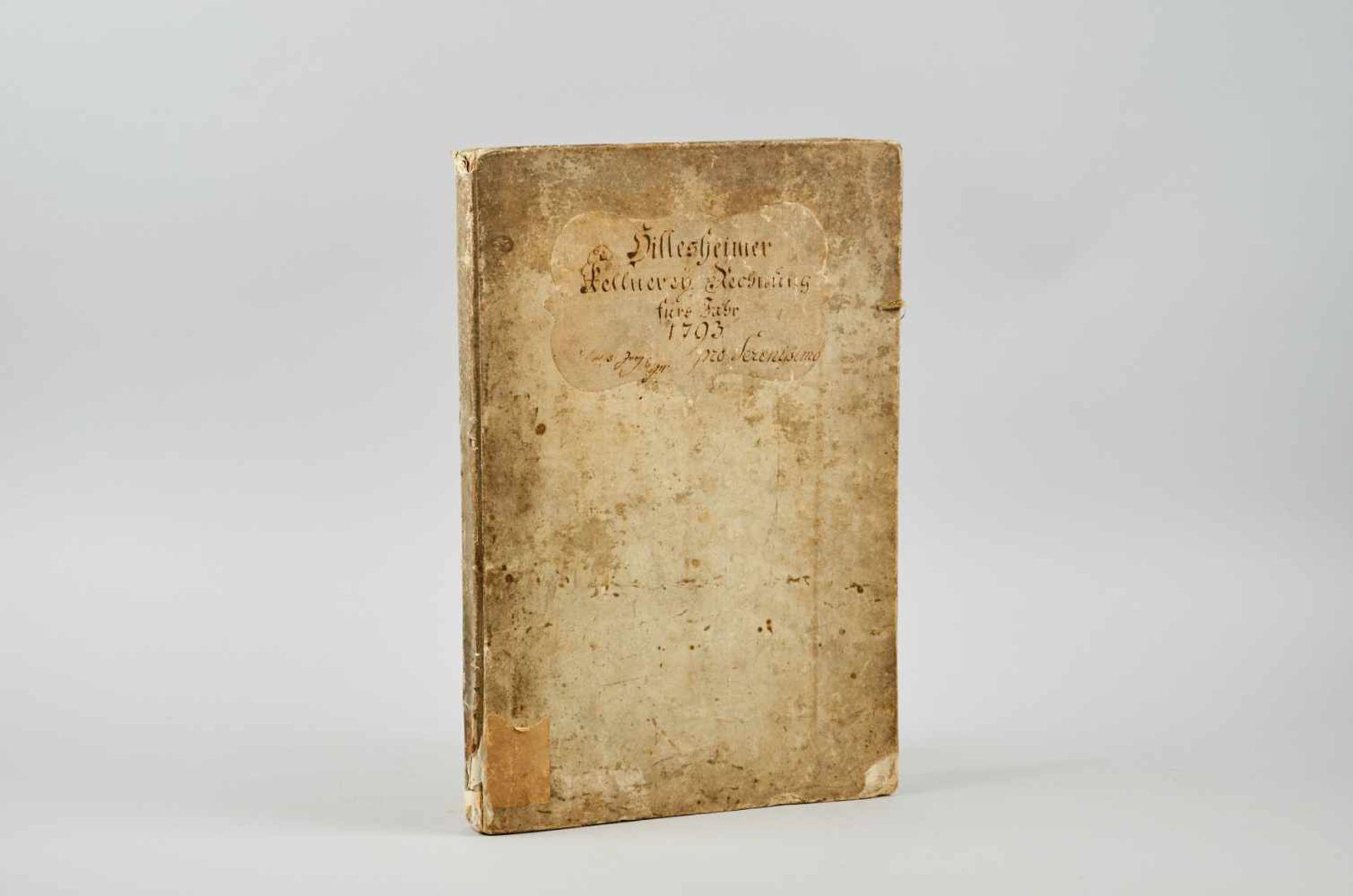 """Hillesheim- """"Hillesheimer Kellnerey Rechnung fürs Jahr 1793."""" (Deckeltitel).Typographische"""