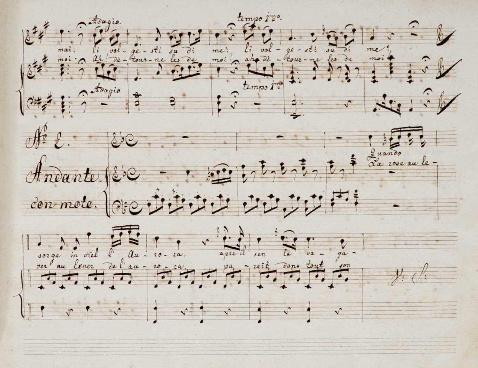 """Paër- """"Sei Ariette. con parole Italiane e Francesi colaccomp[agnamen]to del Forte-Piano Composte - Bild 2 aus 2"""