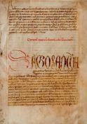 Basler Konzil- Doppelblatt (Fragment)aus einer lateinischen Handschrift auf Pergament. Wohl