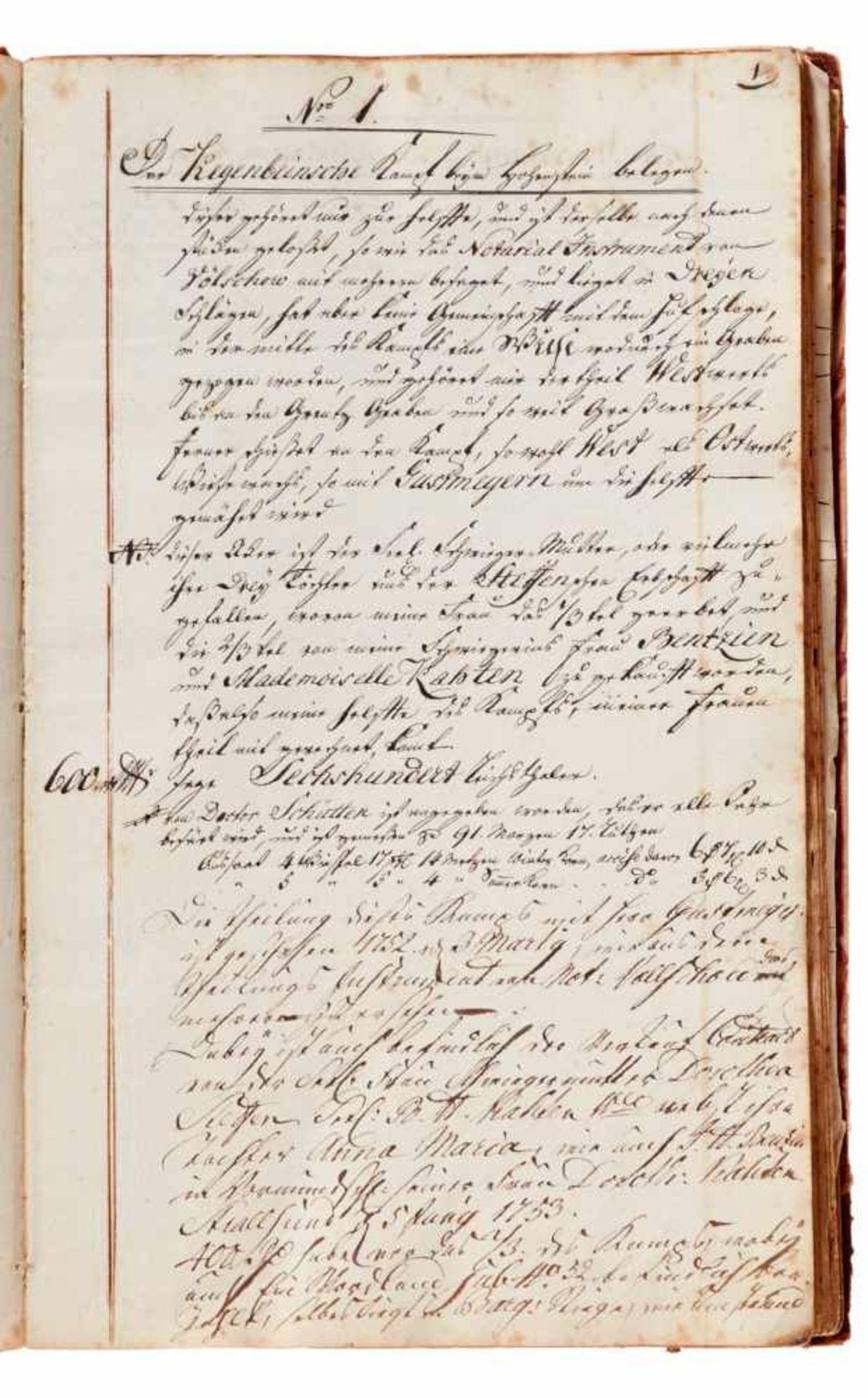 """Anklam- """"Notaten Buch über meine Garten, Acker, Wiesen mit übrigenliegenden Gründen."""" (Deckeltitel). - Bild 2 aus 3"""