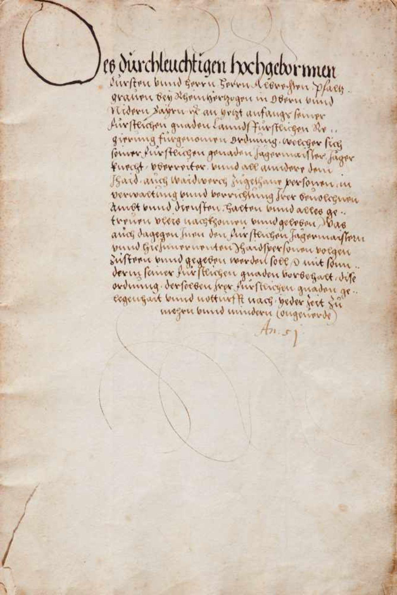 Bayern- Jagdordnung - Deutsche Handschrift auf Papier. Wohl München,dat. (15)51. Fol. Mit