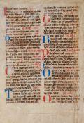 Stundenbuch- Doppelblatt (Fragment) aus einer lateinischen Handschrift aufPergament. Wohl