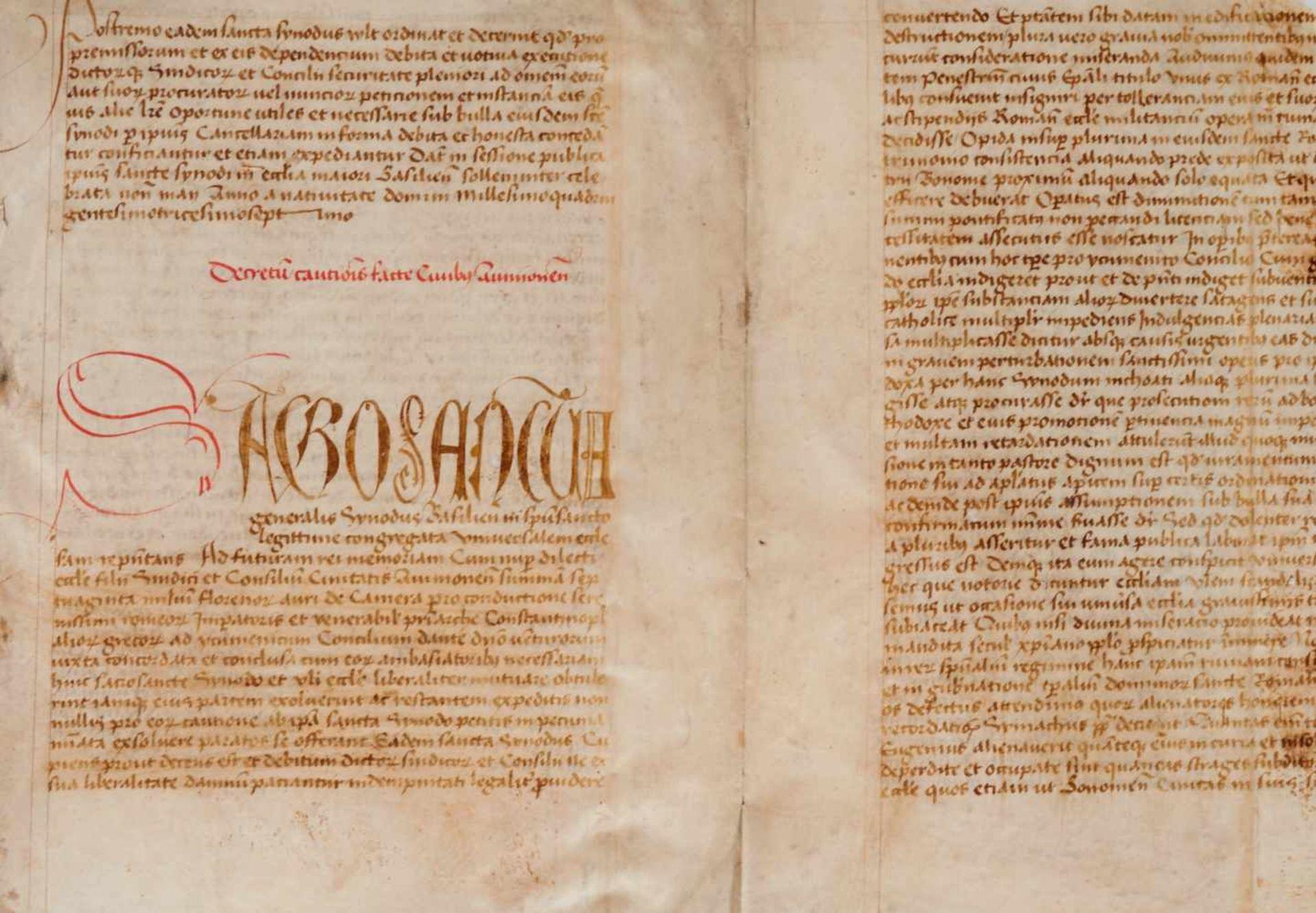 Basler Konzil- Doppelblatt (Fragment)aus einer lateinischen Handschrift auf Pergament. Wohl - Bild 2 aus 3